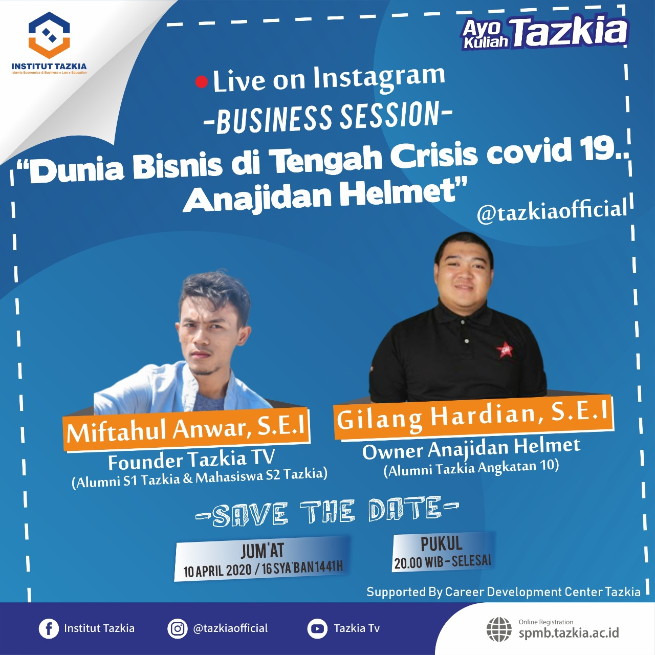 "Business Session Live on Instagram ""Dunia Bisnis di Tengah Crisis Covid 19..Anajidan Helmet"""